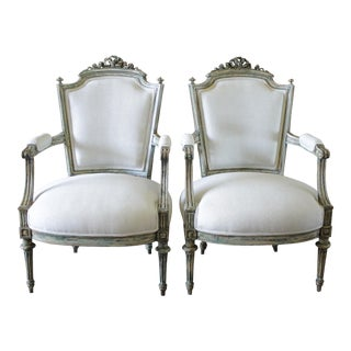 19th Century Louis XVI Style Painted & Upholstered Open Armchairs - A Pair
