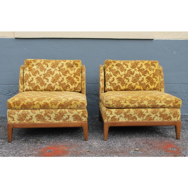 1950s Vintage Velvet Winged Sided Lounge Chairs - a Pair For Sale - Image 4 of 11