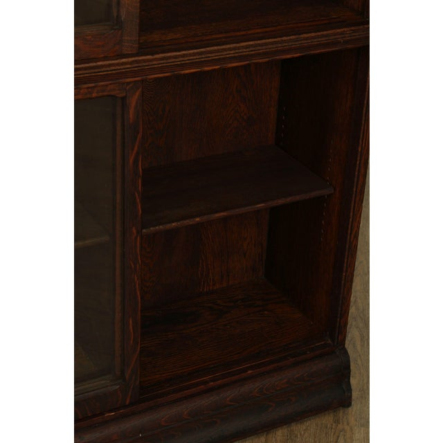 Danner Antique Oak Stacking Sliding Door Bookcases (B) - a Pair For Sale - Image 11 of 13