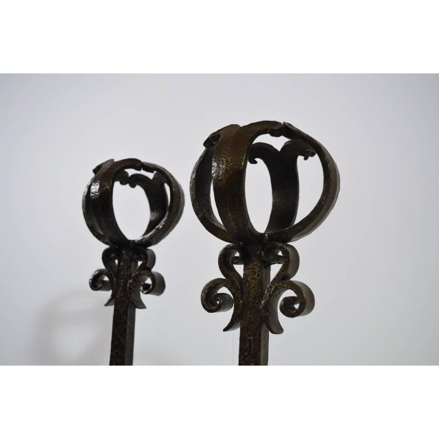 Pair of Large 1900s Iron Chenets or Andirons For Sale - Image 9 of 10