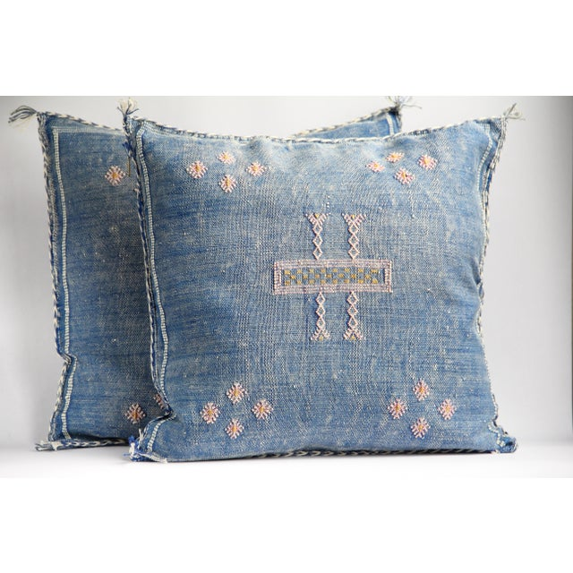 Blue & Pink Moroccan Cactus Silk Pillows - A Pair - Image 2 of 6