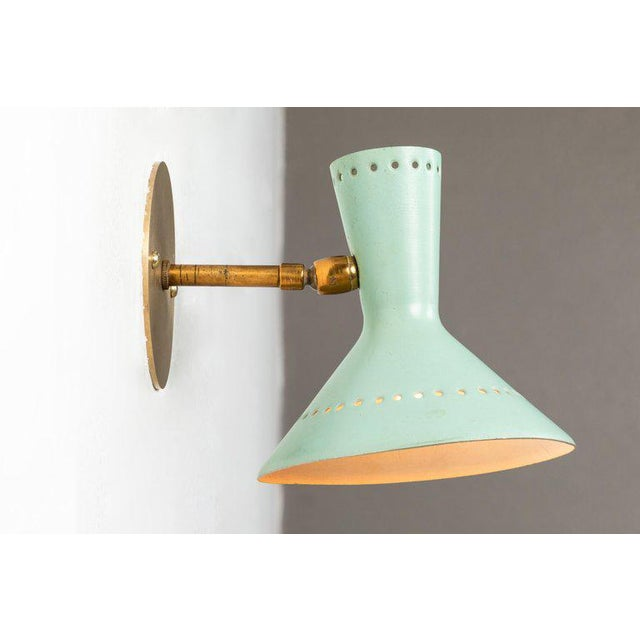 Brass 1960s Italian Perforated Double-Cone Sconces in the Manner of Arteluce - a Pair For Sale - Image 7 of 11