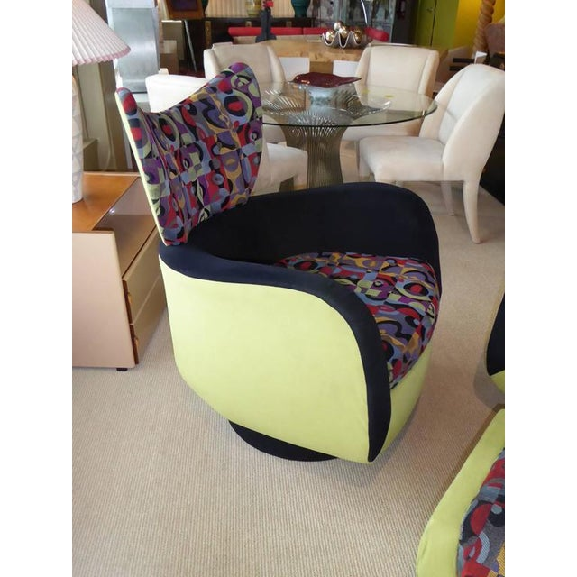 Pair of Vladimir Kagan Lounge Chairs for Directional with Ottoman - Image 9 of 9