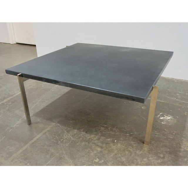 1950s Mid-Century Modern Poul Kjaerholm Coffee Table With Slate Top For Sale In Palm Springs - Image 6 of 7