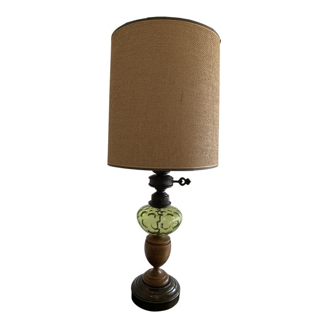 Vintage Hepplewhite Carved Wood Urn, Cast Metal, and Green Depression Glass Lamp With Burlap Shade For Sale