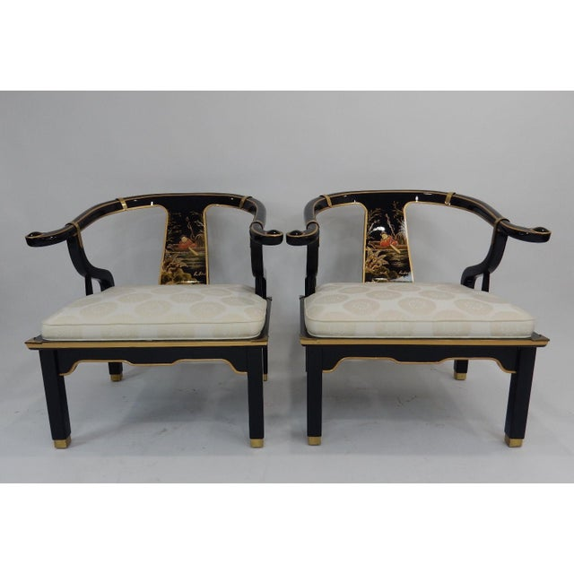 Century Black & Gold Chinoiserie Horseshoe Back Chairs - A Pair - Image 6 of 11