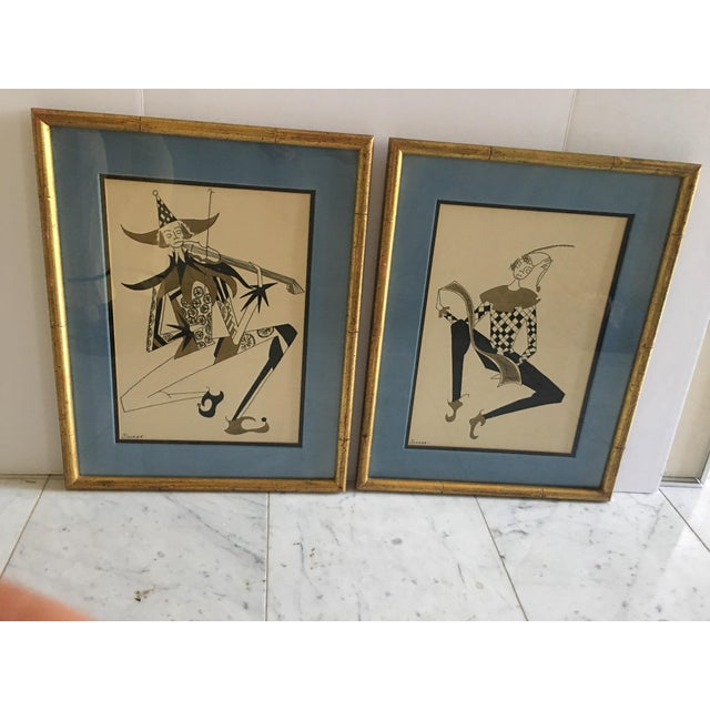 Hollywood Regency Harlequin/Jesters Signed Drawings - a Pair For Sale - Image 4 of 7