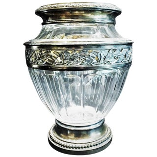 French Art Deco Hand-Cut Crystal and Sterling Silver Flower Vase, Circa 1925 For Sale