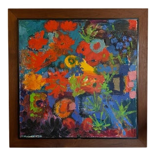 Mid 20th Century Modern Abstract Expressionist Floral Oil Painting, Framed For Sale