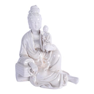 Chinese Blanc De Chine Figure of Guanyin Qing, Early 19th Century For Sale