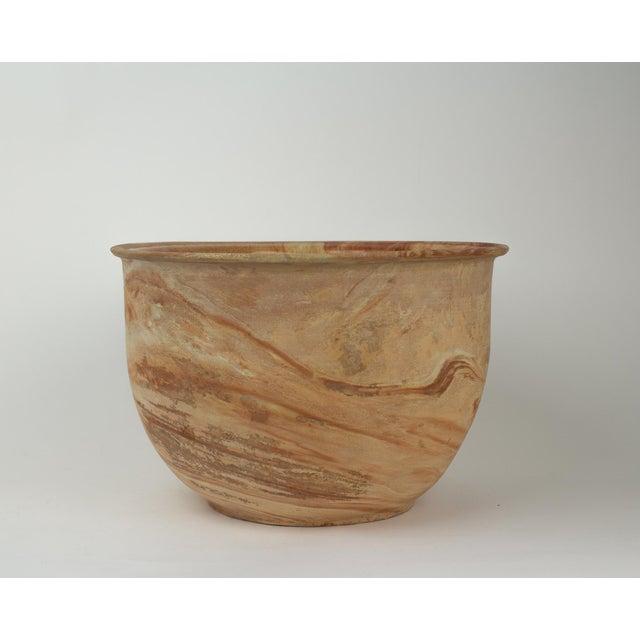 Large Vintage Orange Terra Cotta Swirl Decorative Bowl Planter For Sale - Image 4 of 13