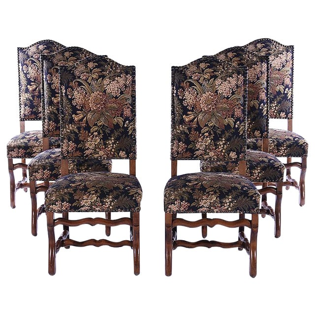 French Upholstered Dining Chairs - Set of 6 - Image 1 of 5