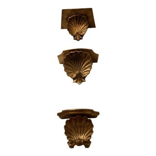 Gilt Shell Wall Brackets - Set of 3 For Sale