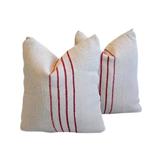 Custom Tailored European Homespun Textile Feather/Down Pillows - Pair For Sale