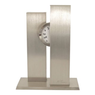 French Sculptural Stainless Steel Clock by Michel Fleury, circa 1970s For Sale