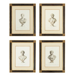 19th Century Black of Caesar Bust Prints in Handmade Frames - Set of 4