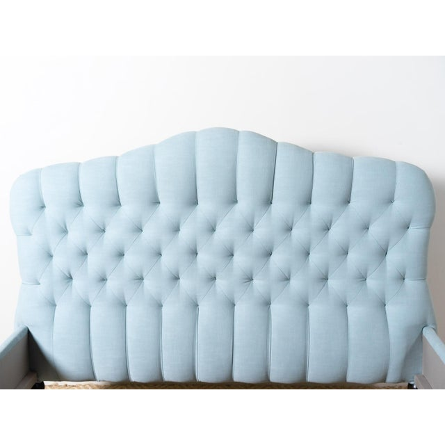 Transitional Savasana Upholstered Blue Cotton Queen Bedframe For Sale - Image 3 of 6