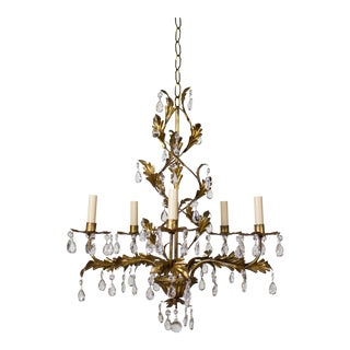 Italian Five Light Gold Leaf and Crystals Chandelier For Sale