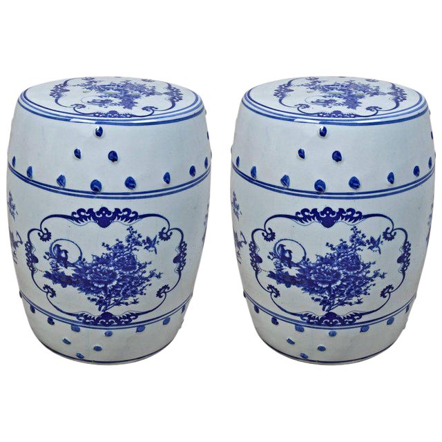 Pair of Chinese Porcelain Garden Seats For Sale