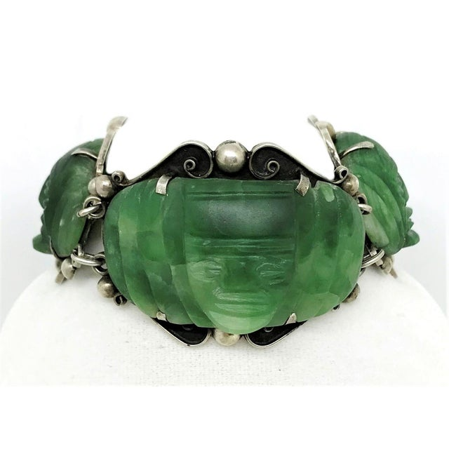 Figurative 1930s Sterling Silver and Carved Green Onyx Mask Bracelet For Sale - Image 3 of 6