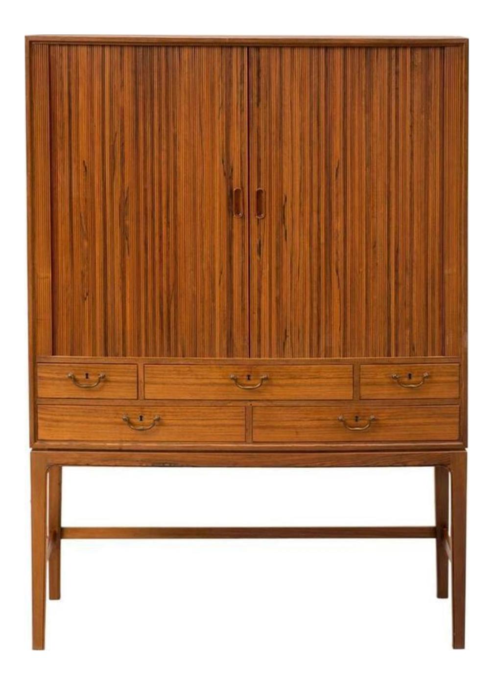 Gentil Ole Wanscher Tambour Cabinet For Sale