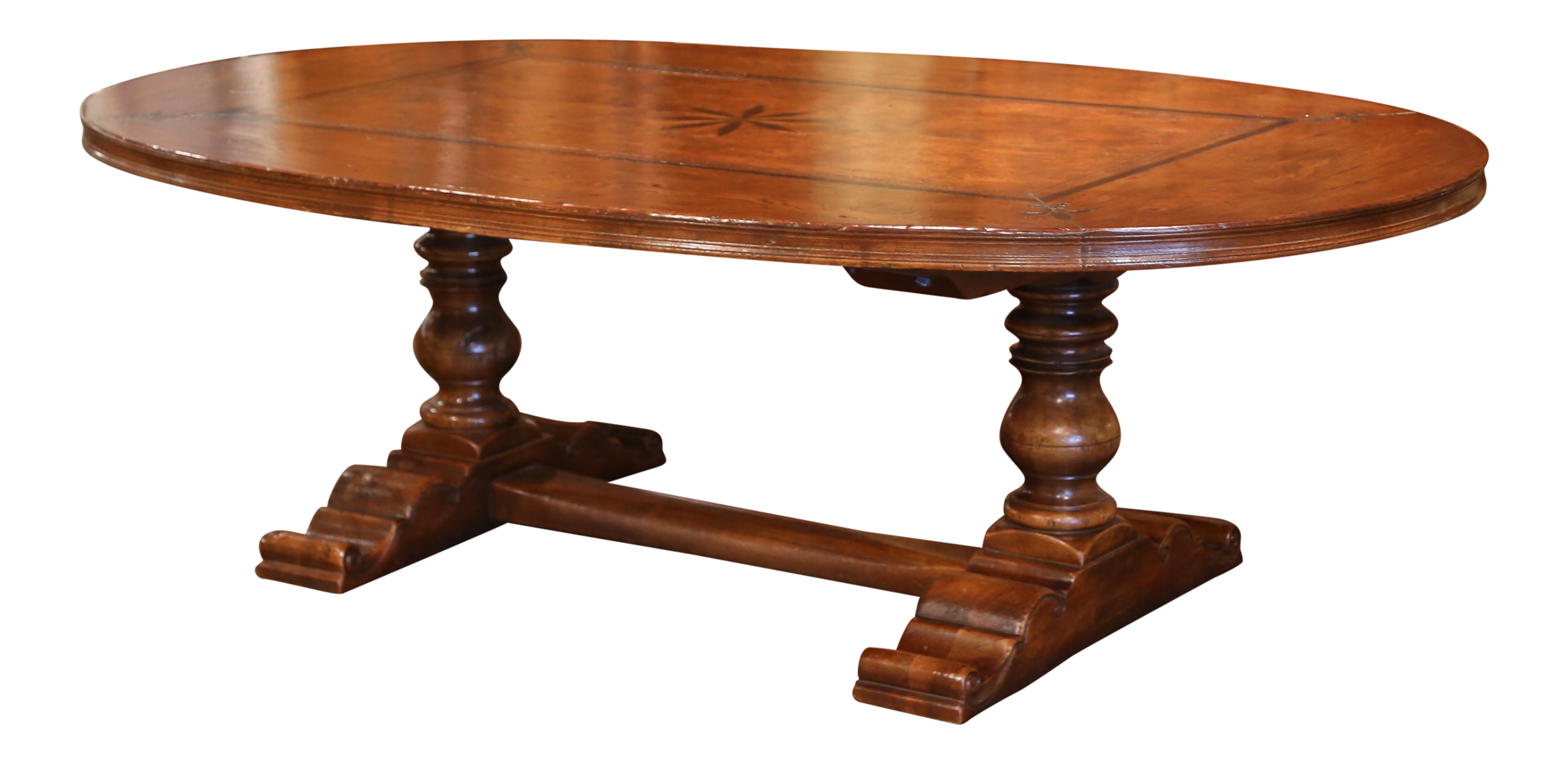 Large French Walnut And Chestnut Oval Trestle Table With Fleur De Lys And  Star