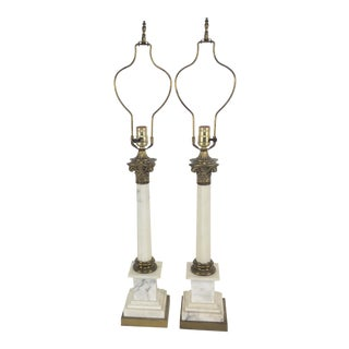 1950's Empire Style Marble and Brass Lamps – a Pair