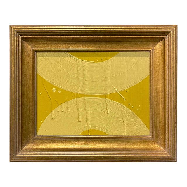 Ron Giusti Mini Wagasa Yellow and Light Yellow Acrylic Painting, Framed For Sale