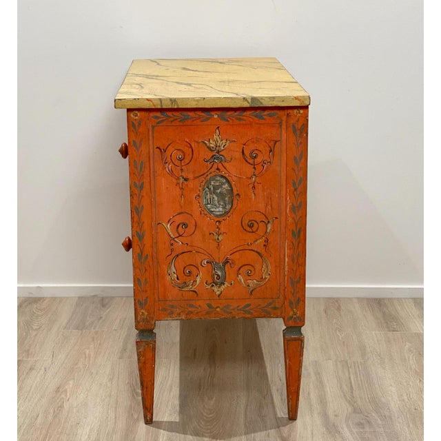 19th Century Painted Chest of Drawers, Italy For Sale - Image 4 of 8