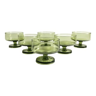 Mid Century Tapered Green Coupe Glasses - Set of 6 For Sale