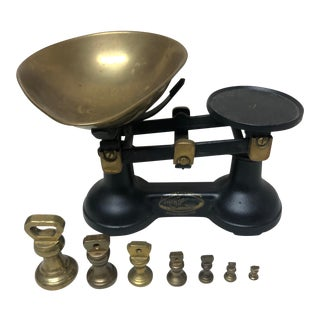 Viking Thornton Balance Scale With Complete Set of Dumbbell Brass Weights - 8 Piece Set For Sale