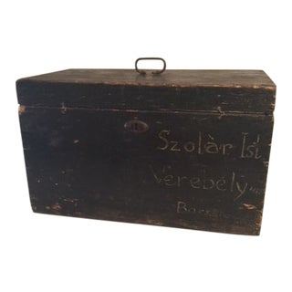 19th Century Primitive Hungarian Wooden Craftsman Box For Sale