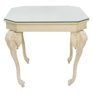 Carved Painted Elephant Occasional Table For Sale