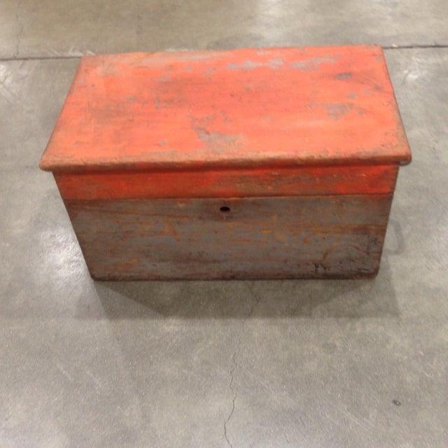 Rustic Antique Orange Wash Carpenter's Box - Image 2 of 5