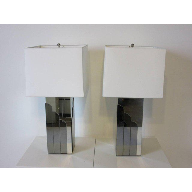 1970s Glamorous Chromed Metal and Mirrored Table Lamps - a pair For Sale - Image 4 of 6