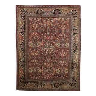 Antique Hand Knotted Persian Mahal Rug For Sale