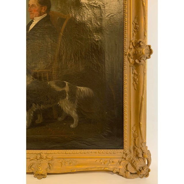 19th Century Portrait of a Distinguished Gentleman with Dog Oil Painting, Framed For Sale In Los Angeles - Image 6 of 13