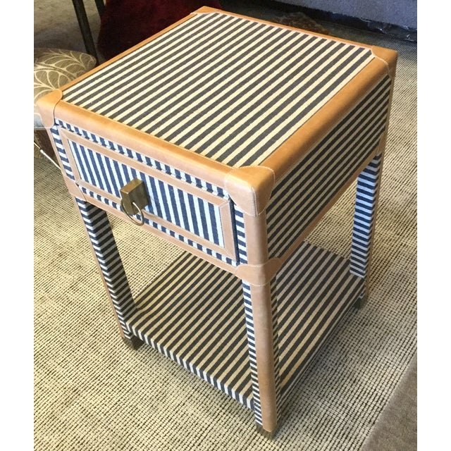 Blue & White Striped Nightstand - Image 3 of 8
