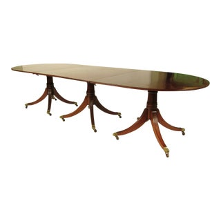 19th Century English Triple Pedestal Dining Table For Sale