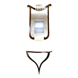 Mid-Century Wall Mounted Console and Mirror For Sale