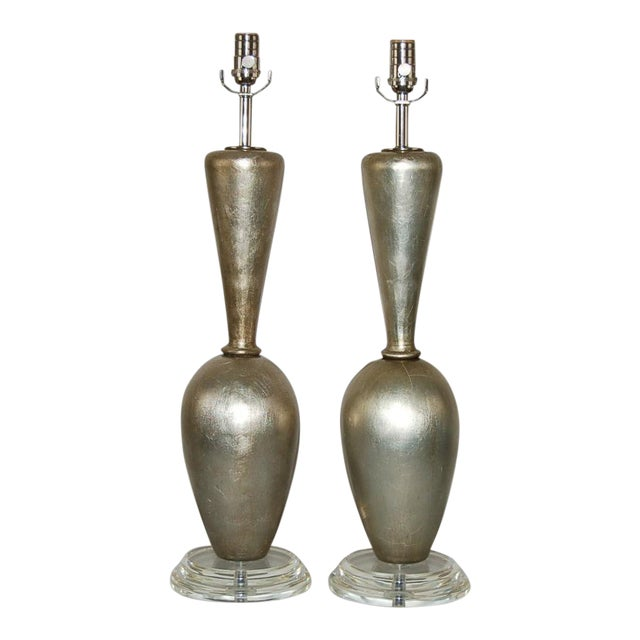 Plaster Table Lamps by Swank Champagne For Sale