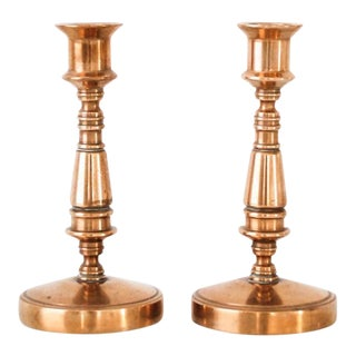 Vintage Classic Brass Candlestick Holders - A Pair For Sale