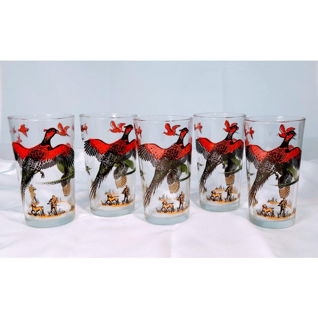 Hazel Atlas Mid-Century Modern Pheasant Hunting Glasses - Set of 5 For Sale - Image 6 of 8