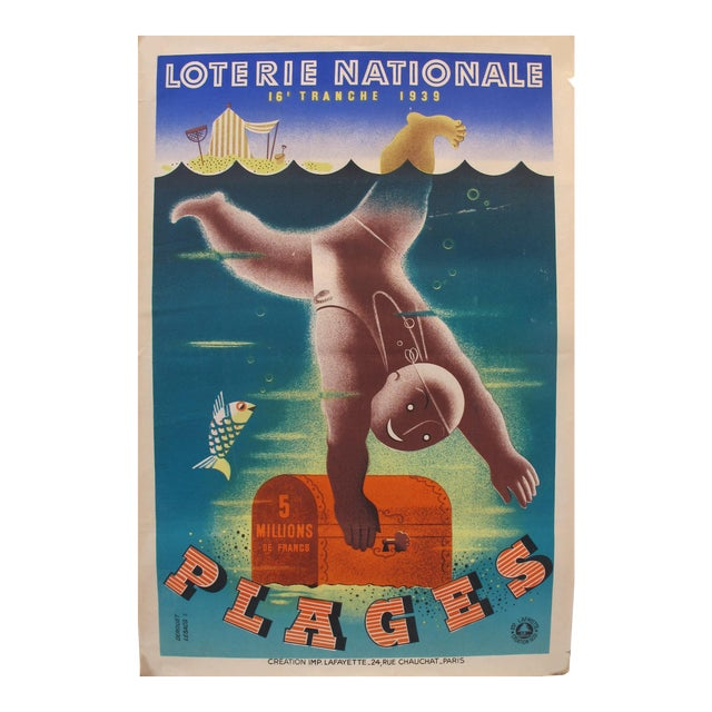 1939 French Art Deco Poster - Loterie Nationale Advertisement - 16e Tranche 1939 - Plages For Sale