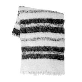 Black Striped Wool Blanket For Sale