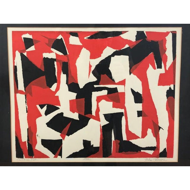 """Abstract John Otterson """"Broken Red"""" Abstract Serigraph, Signed & Numbered, Early 1950s For Sale - Image 3 of 9"""