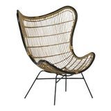 Image of Bamboo & Black Scoop Chair For Sale
