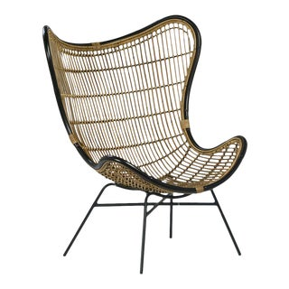 Bamboo & Black Scoop Chair