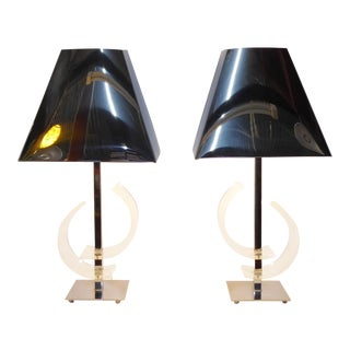 Charles Hollis Jones Attributed Lucite & Chrome Table Lamps - a Pair For Sale