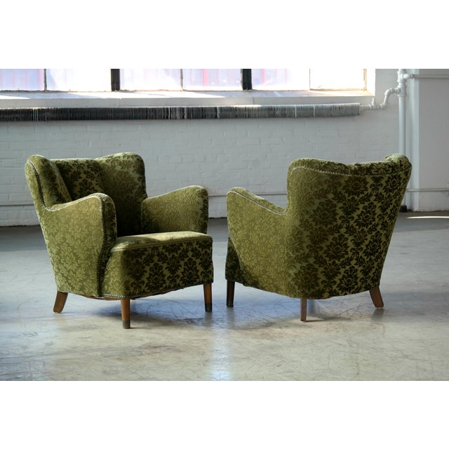 Pair of Danish 1940s Fritz Hansen Model 1669 Style Lounge Chairs For Sale - Image 11 of 11